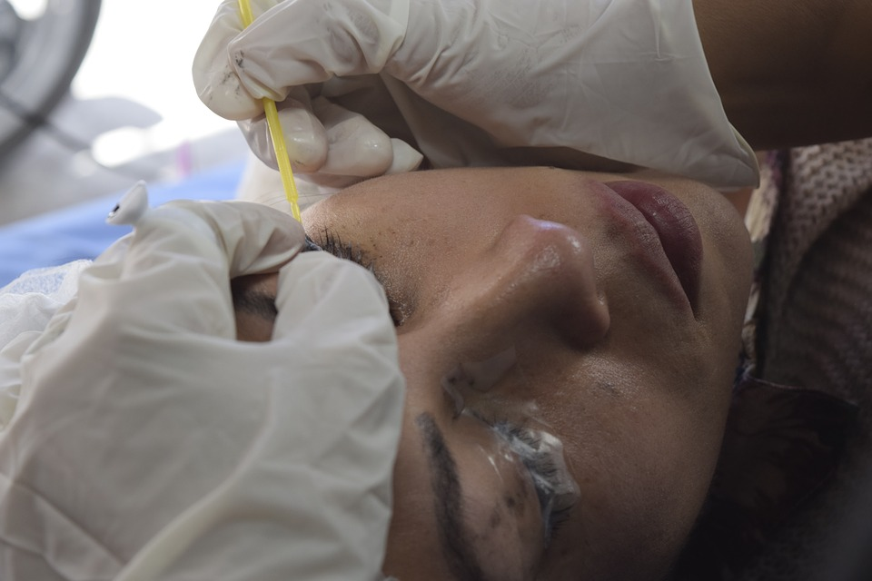 patient getting microblading treatment